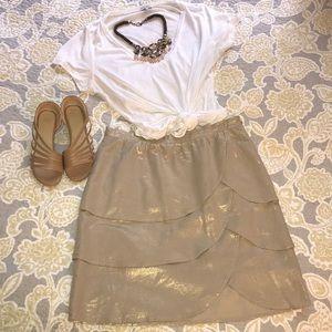 Anthropologie Gold Tulip Skirt Size 12
